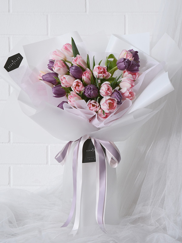 Minimalist Pink Purple Tulip Flower Bouquet White
