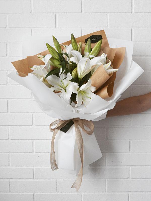 Minimalist White Lily Flower Bouquet