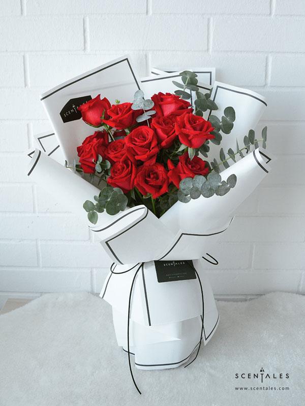 Minimalist Red Rose Flower Bouquet Scentales Florist